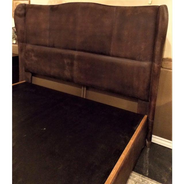 Dax King Size Leather Platform Bedframe by Taracea For Sale - Image 4 of 6