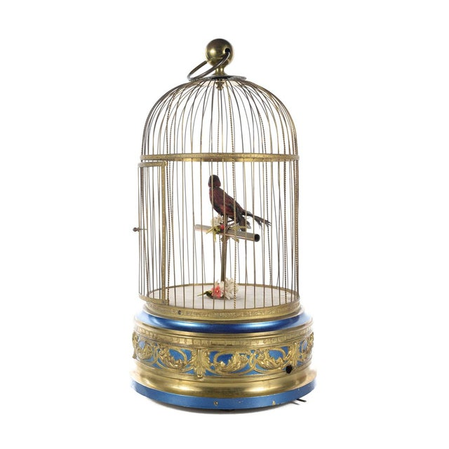 "German Mechanical 20"" karge Birdcage Automaton Music Box Size: 9"" x 20"" A beautiful piece that will add to your décor!"