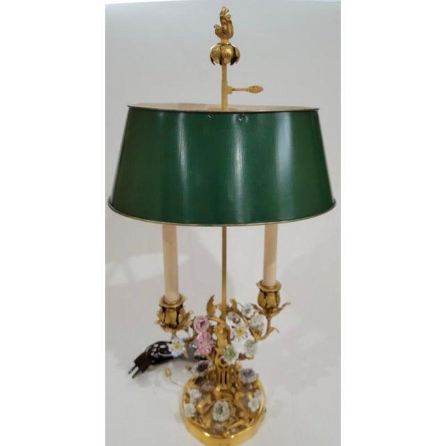 Rococo Antique 19th C Louis XV Gilt Bronze & Enamel Bouillotte Lamp For Sale - Image 3 of 4