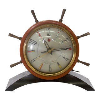 Seth Thomas Rudder Ship Wheel Electric Alarm Clock Vintage 1951 For Sale