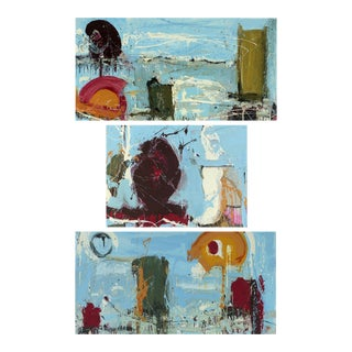 "Abstract Triptych Painting William P. Montgomery ""Rollercoaster""- 3 Pieces For Sale"