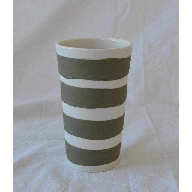 Contemporary Ceramic Multi Striped Cylindrical Vessels - Group of 5 For Sale In New York - Image 6 of 13