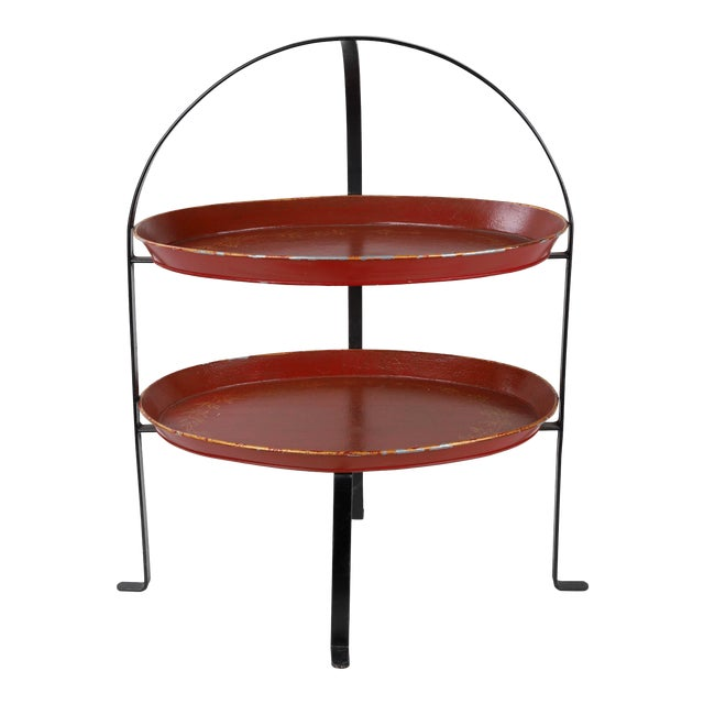 Vintage Curved Metal Tray Stand With Red Trays For Sale