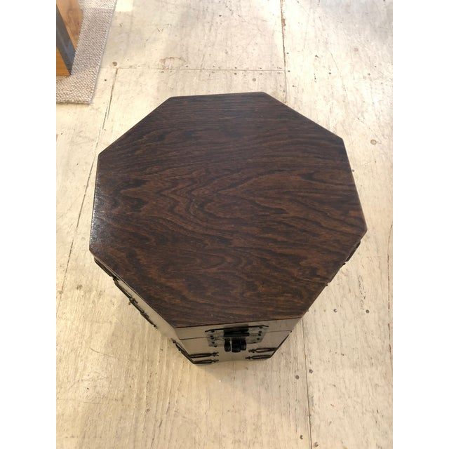 1950s Asian Dark Wood Octagonal Chest/End Table For Sale In Philadelphia - Image 6 of 12