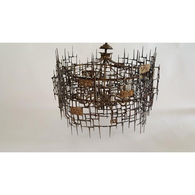 Welded Bronze & Nails Metal Chandelier For Sale - Image 9 of 11