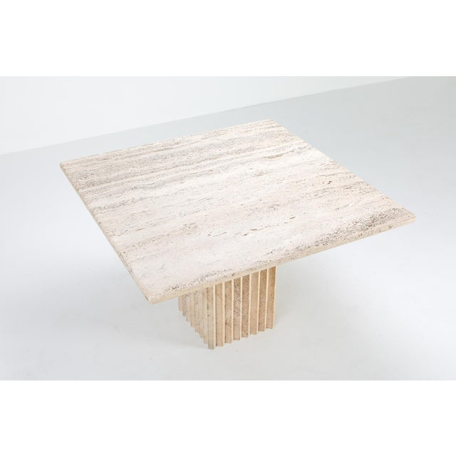 Postmodern 1970s Travertine Dining Table Carlo Scarpa For Sale - Image 3 of 9