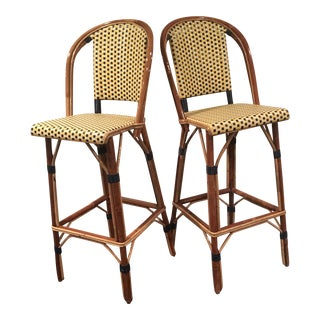 TK Collection French Bamboo Bistro Bar Stools - a Pair For Sale