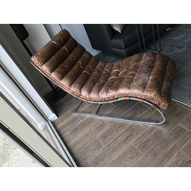 Restoration Hardware Leather Chaise - Image 4 of 6