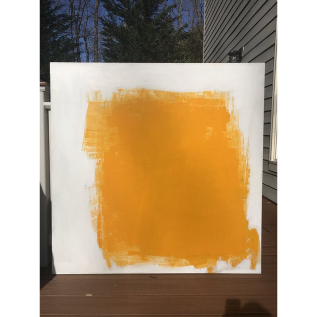 Big and bold yellow acrylic is painted, scraped, and wiped onto a rich, white, well worked background full of depth and...