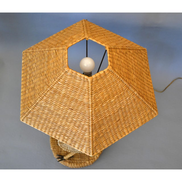 1970s Vintage Mario Lopez Torres Egret Wicker Rattan Table Lamp, 1974 For Sale - Image 5 of 13