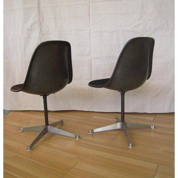Pair Eames Black Fiberglass Shell Chairs, Aluminum Group For Sale In Miami - Image 6 of 8