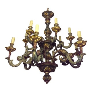 Large Antique Painted/Gilt Gesso & Wood 12-Light Italian Chandelier