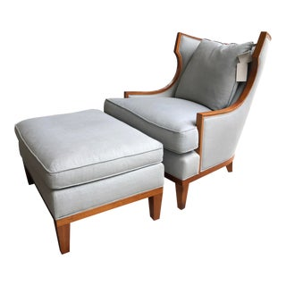 Modern Henredon Furniture Barbara Barry Collection Wislow Wing Chair & Ottoman- 2 Pieces For Sale