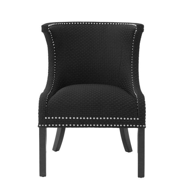 Black Wingback Side Chair | Eichholtz Elson For Sale - Image 4 of 7