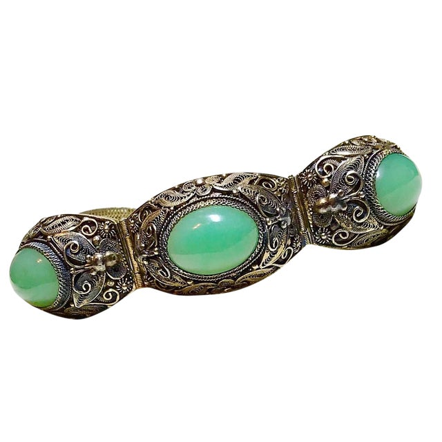 Mid-Century Chinese Gilt Sterling and Jade Bracelet For Sale