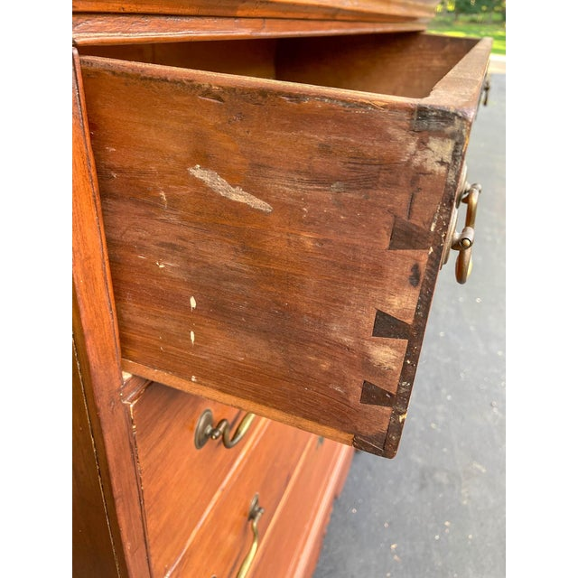 Wood Antique 18th Century Colonial Chest on Stand For Sale - Image 7 of 10