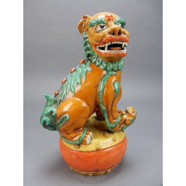 Asian Late 19th Century Antique Chinese Nan King Orange Drip Glazed Female Foo Dog For Sale - Image 3 of 13