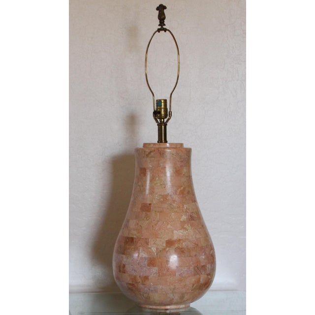 Incredible vintage table lamp in a salmon pink tessellated marble designed and handmade in Hong Kong by Maitland - Smith...