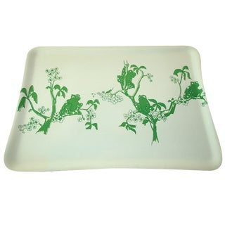 1970s Kelly Green Frogs Bar Drinks Tray For Sale