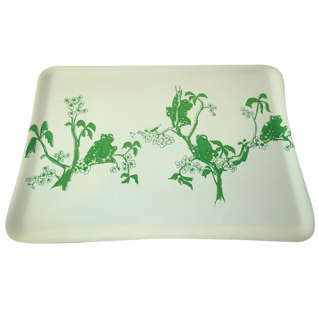 1970s Kelly Green Frogs Bar Drinks Tray - Image 1 of 3