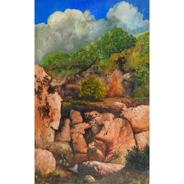 Rocky Hillside Landscape Painting Chairish