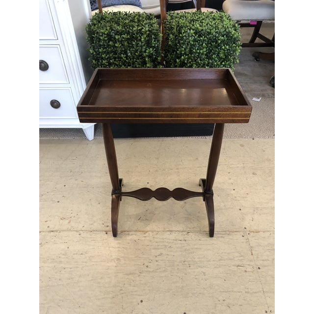 Mahogany Rectangular Small End Table With Banded Inlay For Sale - Image 11 of 11