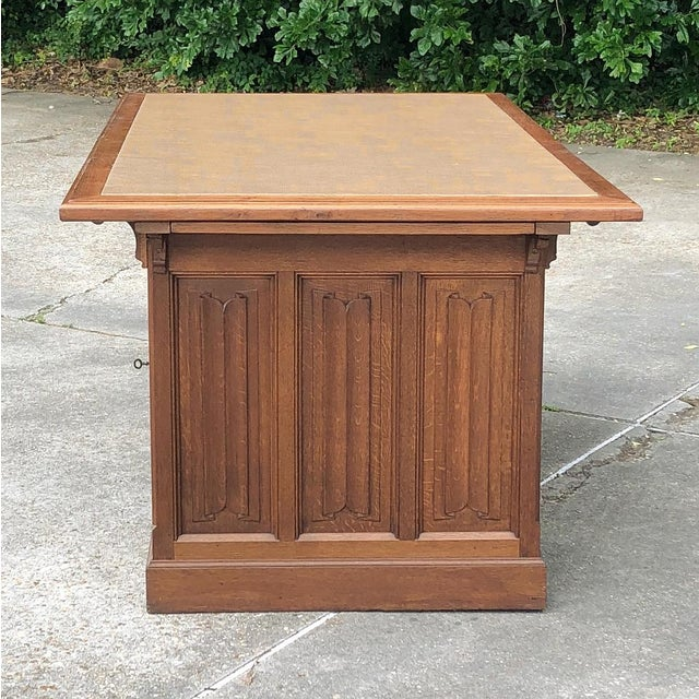 Gold 19th Century Gothic Oak Executive Desk For Sale - Image 8 of 13