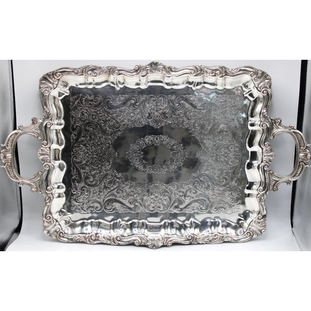 Metal Early 20th Century French Silver Plate Footed Tray With Ornate Scrolls and Engravings For Sale - Image 7 of 7