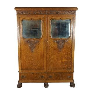 1900s Antique Victorian Oak Armoire Linen Cabinet Mirrored Closet Paw Feet Empire Preview