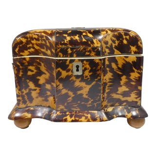 19th Century Tortoise Shell Tea Caddy For Sale