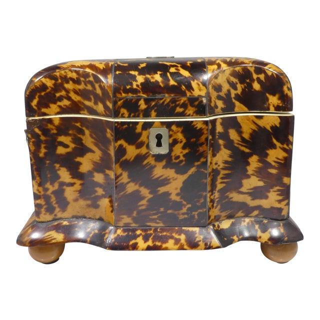 19th Century Tortoise Shell Tea Caddy For Sale