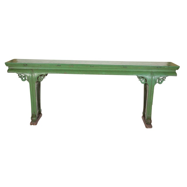 Mid 19th Century Green Painted Chinese Console Table, Large Scale For Sale - Image 5 of 13