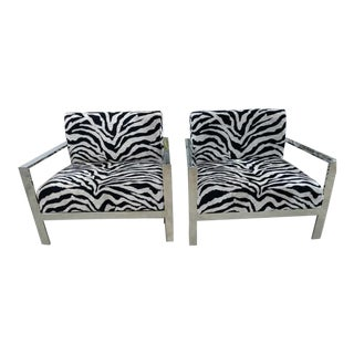 Zebra Velvet and Stainless Side Chairs - A Pair