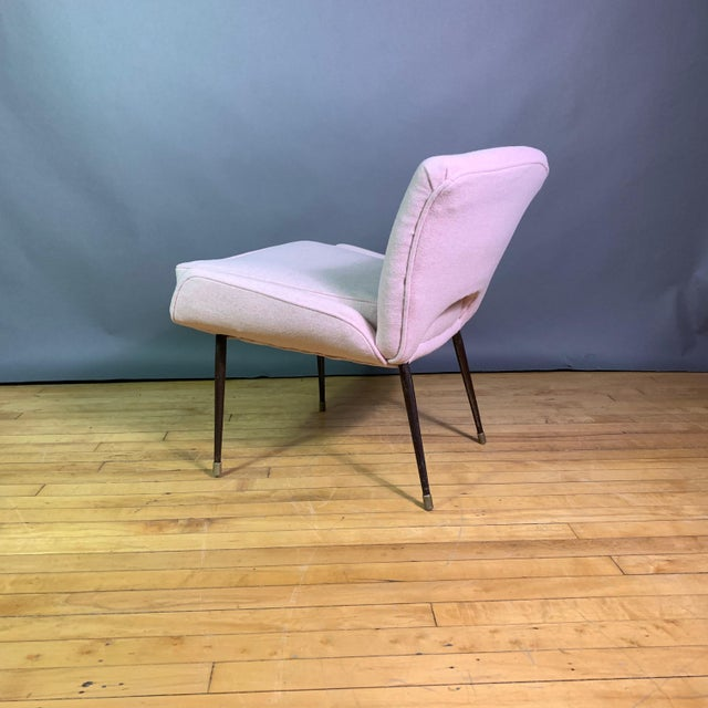 Italian 1950s Boudoir Chair, Pink Felted Wool For Sale - Image 9 of 11