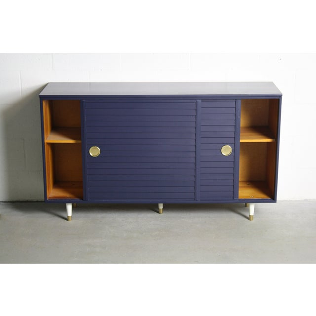 1960's Navy Cabinet W/ White & Gold Tapered Legs - Image 10 of 11