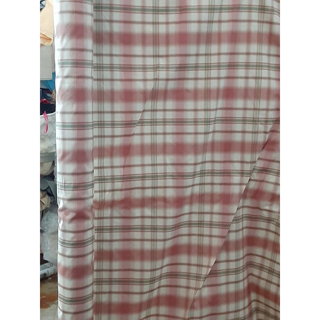Pindler and Pindler Designer Silk Infused Woven Raspberry Pink and Light Green on Cream Woven Plaid - 10 Yards For Sale - Image 4 of 11