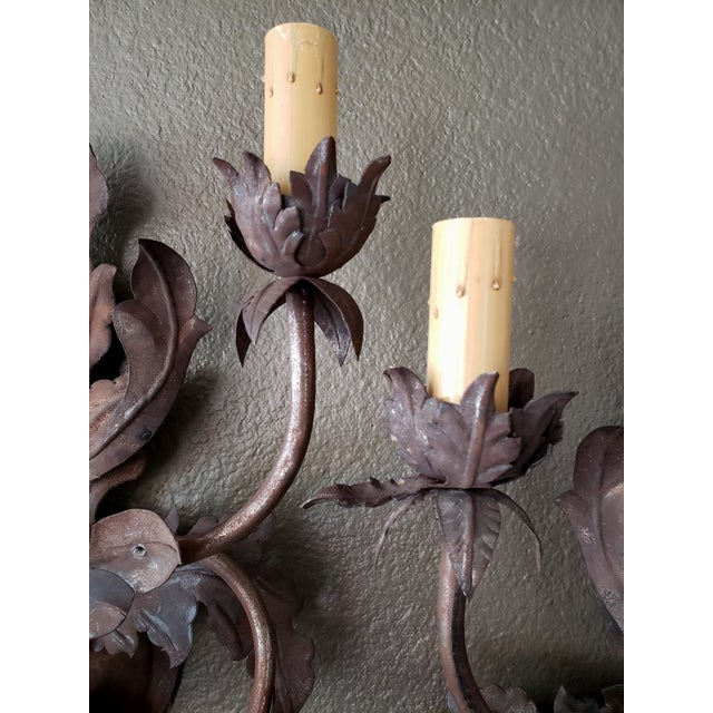 1960s Vintage 1960s French Large Floral Sconces - a Pair For Sale - Image 5 of 13