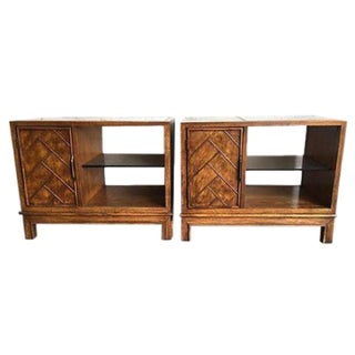 Wood & Glass Nightstands - A Pair For Sale