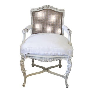 19th Century Country French Cane Back Chair With Linen Cushion For Sale