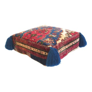 1960s Vintage Turkish Silk Pouf For Sale