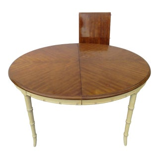 Hollywood Regency Faux Bamboo Dining Table With Leaf For Sale