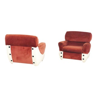 1960s Space Age Armchairs in Fiberglass and Velvet For Sale