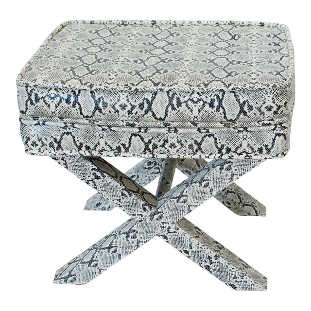 Billy Baldwin Style Python Leather X-Bench Ottoman Footstool For Sale