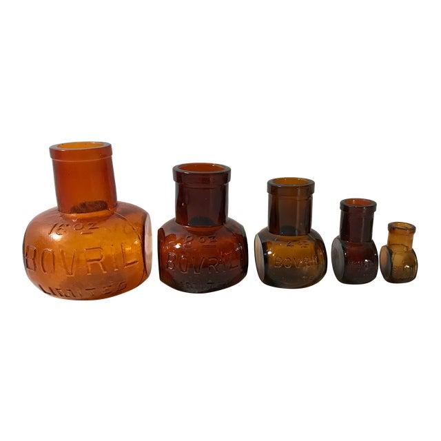 Antique Brown Bovril Bottles - Set of 5 For Sale