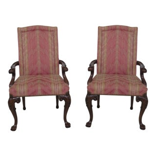 Karges Upholstered Ball & Claw Open Armchairs - A Pair For Sale