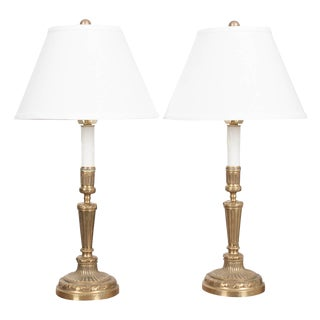 French 19th Century Louis XVI Style Brass Candlestick Lamps - a Pair For Sale