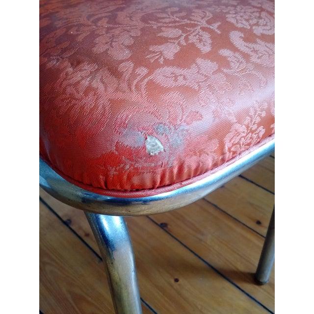 Orange Retro 1950s Vinyl & Chrome Dining Chairs - Set of 4 For Sale - Image 8 of 10