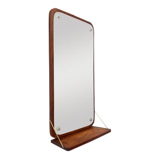 1960s Vintage Danish Teak Mirror with Shelf For Sale