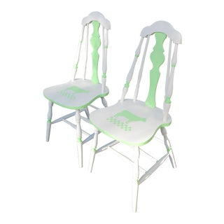 1930s Country Spindle Back Side Chairs - a Pair For Sale