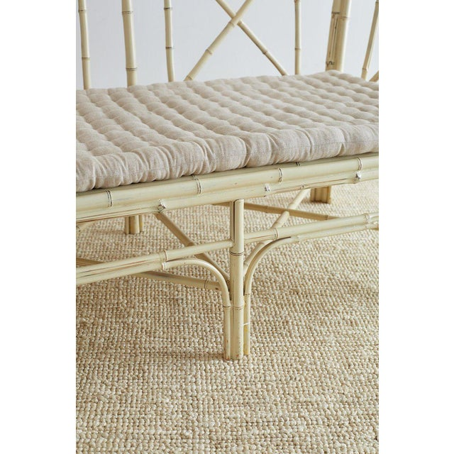 Hollywood Regency Hollywood Regency Lacquered Bamboo Settee or Bench For Sale - Image 3 of 13